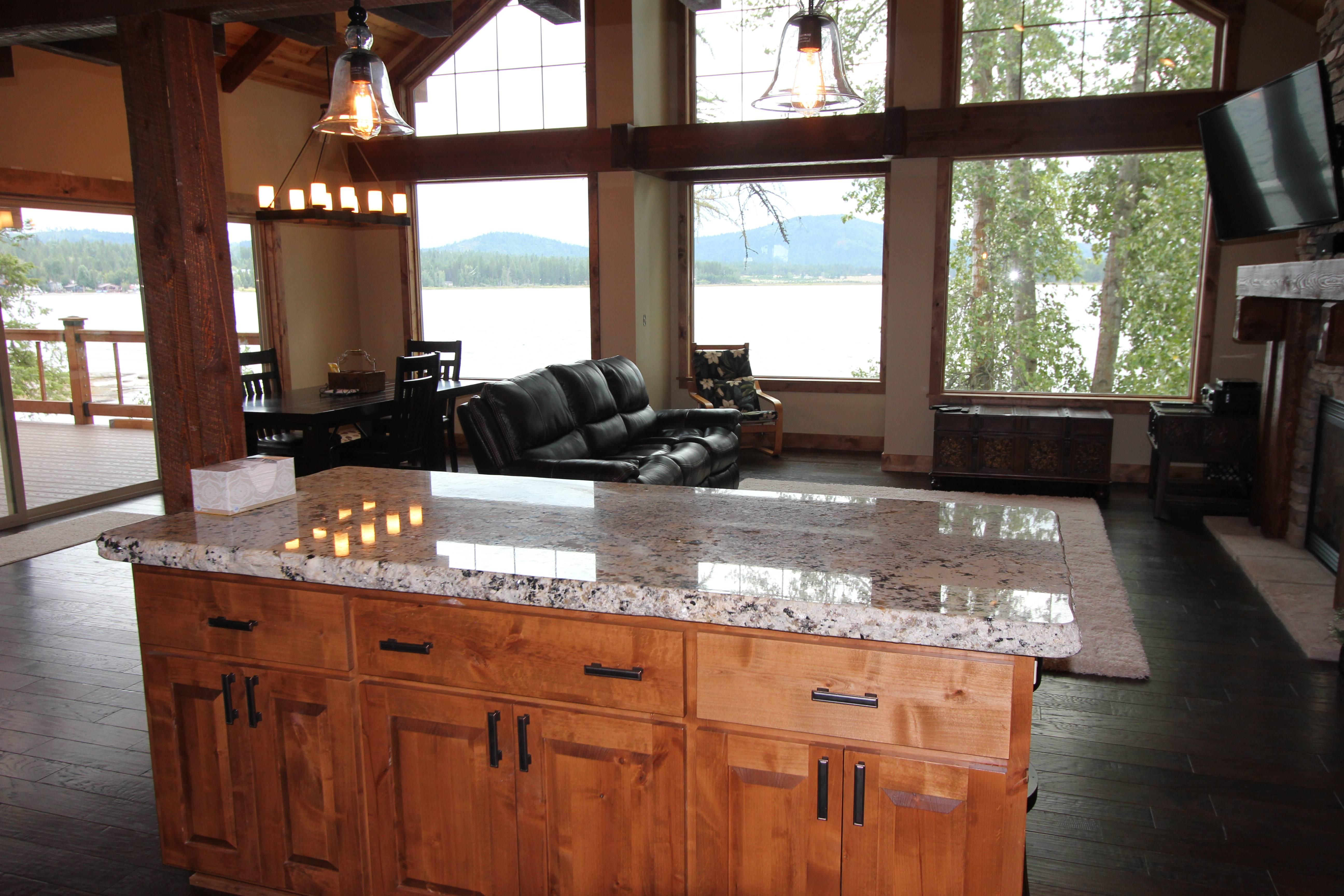 Kitchen Island - Chiseled Granite Countertop